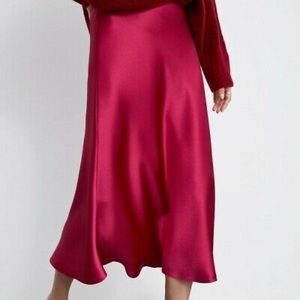 Rachel Roy Bias Satin Midi Skirt